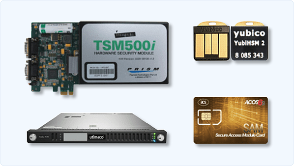 Different types of HSM: cryptographic card, appliance, USB (nano) HSM and smart card