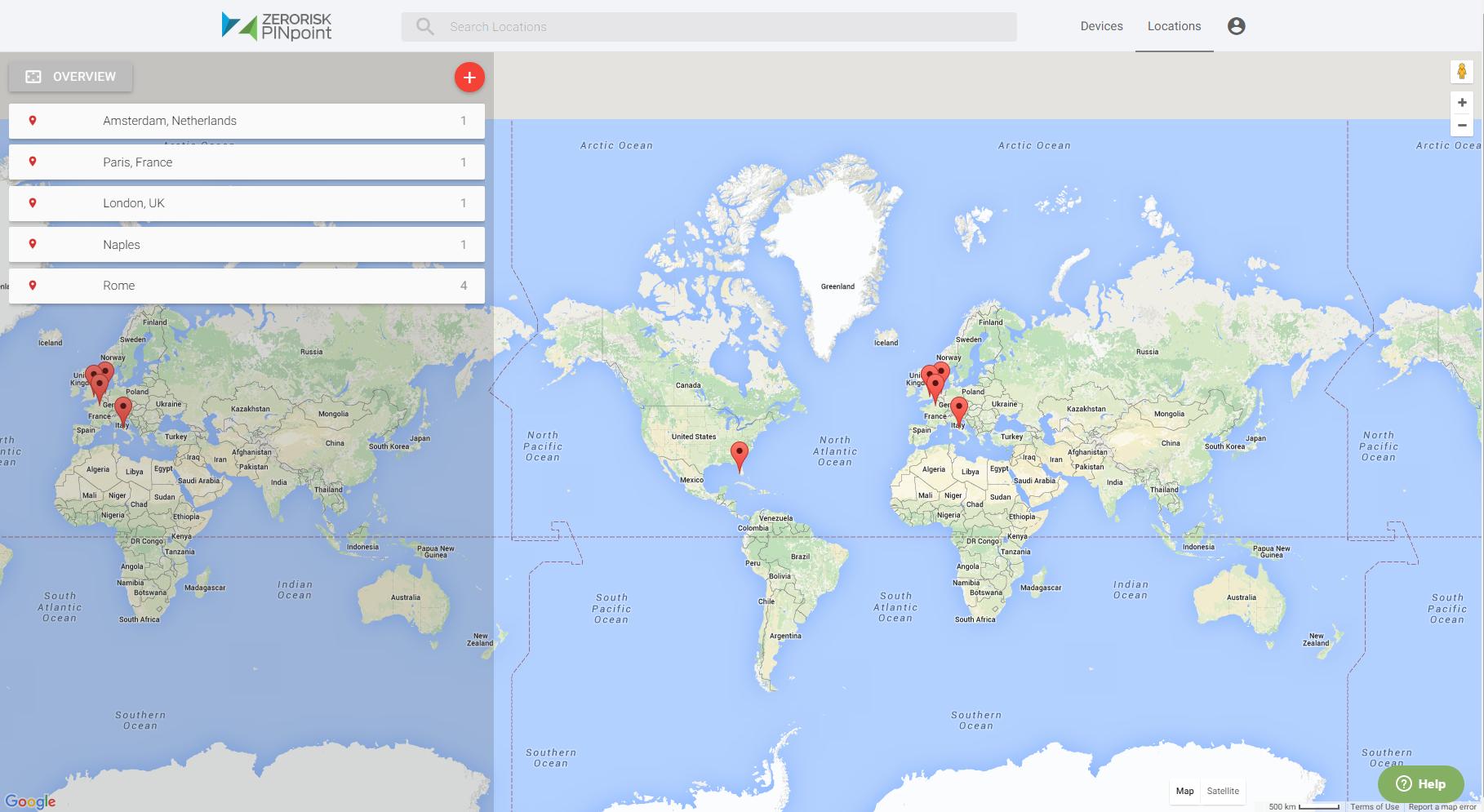 ZeroRisk PINpoint Locations Overview